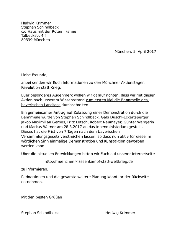 Brief zu den Aktionstagen